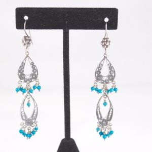 VINTAGE Boho Dangle Drop Silver Earrings